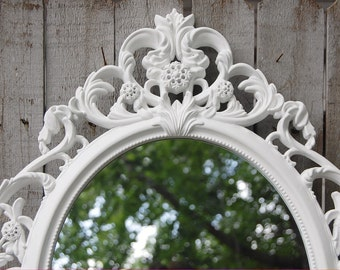 Wall Mirror, Shabby Chic, Baroque Mirror, White, Oval, Upcycled, Ornate, Wedding Decor, Painted Mirror, Hollywood Regency, Photo Prop