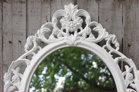 Wall mirror shabby chic baroque mirror white oval for Baroque mirror canada