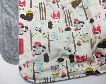 Minky Baby Blanket in Woodland Friends - Designer fabric Minky Baby Blanket - fox, raccoon, beaver, owl, forest, trees