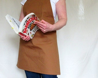 Brown heavy duty cotton canvas apron - rivets and reinforcement stitching - perfect for grillers and guys - chest pocket