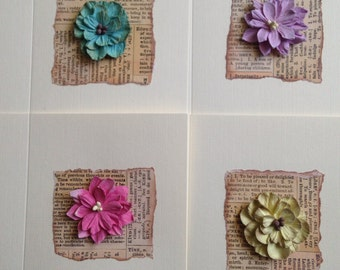 4 Assorted Vintage Style Flowers on English Dictionary Paper Greeting Cards Handmade Cards