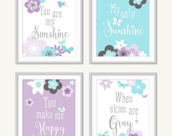 Butterfly Nursery, Aqua Purple, Baby Wall Art, Baby Girl Nursery, Floral Nursery, Tween Toddler Decor, Butterfly Decor, Girls Room Wall Art