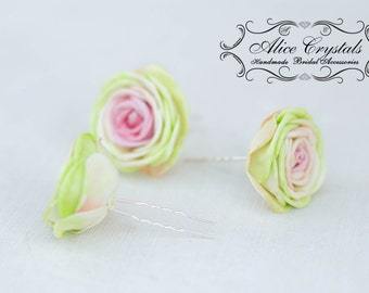 Hairpins x 3 flower hairpins rose. Rose Hair Pins. Pink flower haipin.