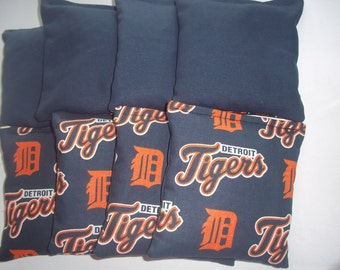 8 ACA Regulation Cornhole Bags - MLB Detroit Tigers Logo Print & Solid Blue