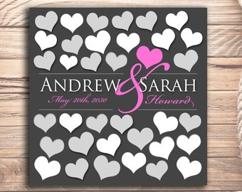 35 guests 12x12 inches Wedding Guestbook Bridal and Engagement gift Sign inside the hearts