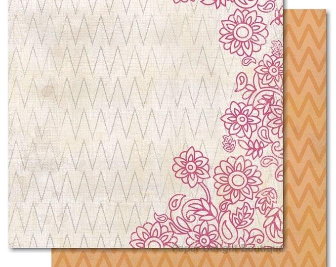 "2 Sheets of My Mind's Eye INDIE CHIC Saffron ""Birds"" 12x12 Scrapbook Paper - Posy"