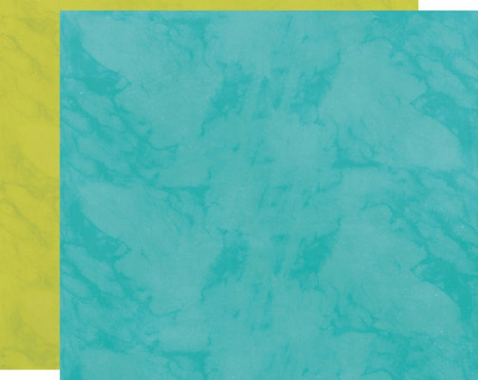 2 Sheets of Echo Park Paper HERE & NOW 12x12 Scrapbook Paper - Teal/Green
