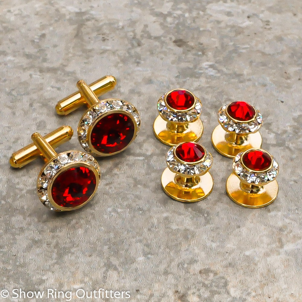 Crystal shirt studs and cufflinks 25 colors gold or silver for Tuxedo shirt no studs