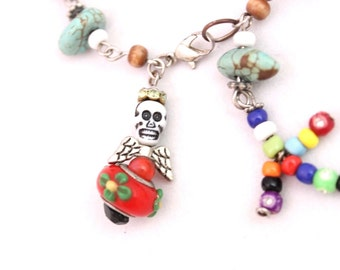 Turquoise Skull and Fetish Beaded Bracelet, Skull Bracelet, Fetish Bracelet, Day of the Dead Bracelet, Halloween, Skeleton