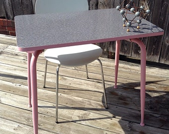 Mid-Century Refurbished Grey Pink and White Boomerang Laminate Kitchen/Dining or Diner Table or MCM Desk-No Chairs