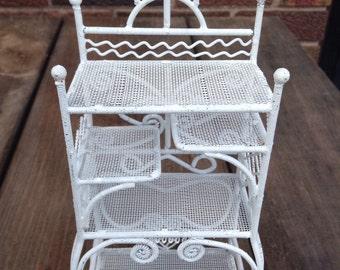 DOLLHOUSE Vintage Ornate Victorian Wire Rattan/Wicker  Etagere