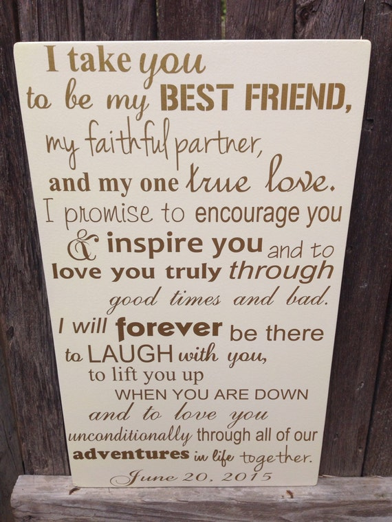 First anniversary gift for him wedding vows sign st