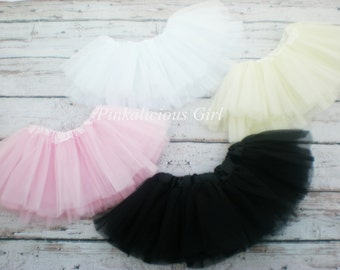 Baby Girl Black Tutu- Baby Girl White Tutu- Baby Girl Ivory Tutu- Baby Girl Light Pink Tutu- Infant Girl Tutu- Birthday Tutu- Smashcake Tutu