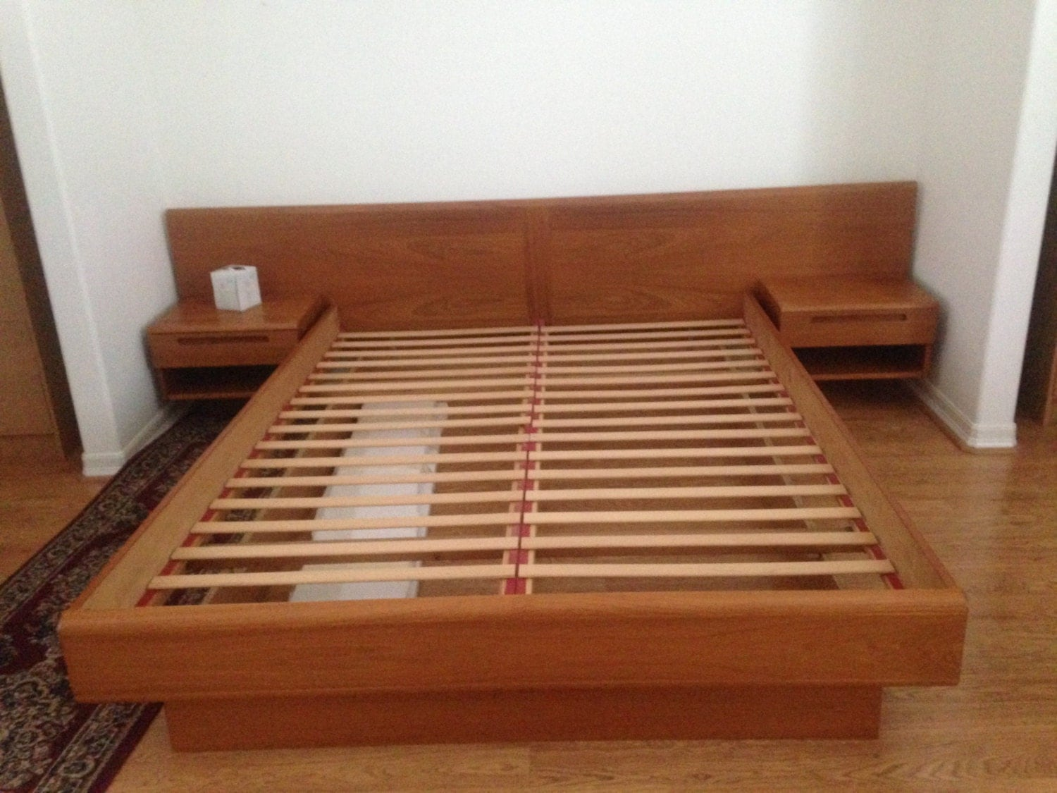 Danish Modern Jesper Platform Bed Floating Nightstands MCM Mid Century ...