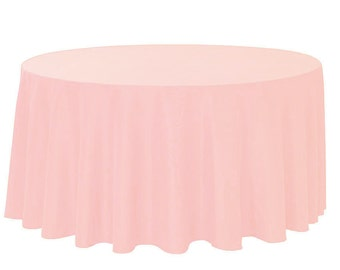 YCC Linen - 120 Inch Round Polyester Tablecloth Blush | Wedding Tablecloths