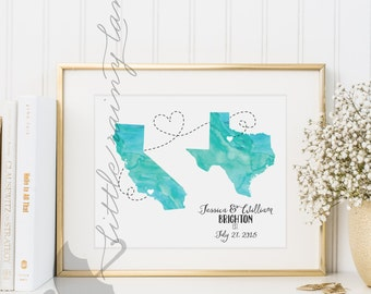 Two states love - wedding present - two states art -  Customize color, states, etc. - DIGITAL PRINTABLE