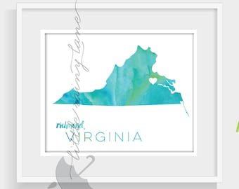State Art - Virginia Map -watercolor Virginia print - 76 Colors to choose from and faux gold foil