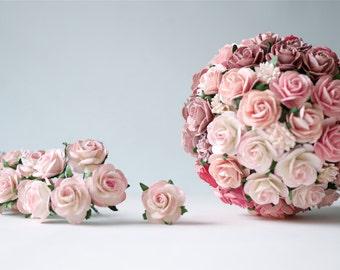 Paper Flower,50 pieces mini rose size 2.5 cm., soft pink  color.