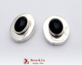 Modernist Oval Earrings Onyx Cabochons Sterling Silver