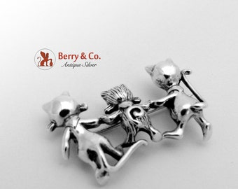 Happy Cat Family Pin Brooch Sterling Silver