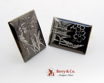 Japanese Engraved Square Cuff Links Sterling Silver 1950