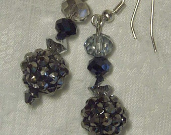 "Cynthia Lynn ""ASPIRE"" Silver Black & Clear Swarovski Crystal Beaded Dangle Earrings"