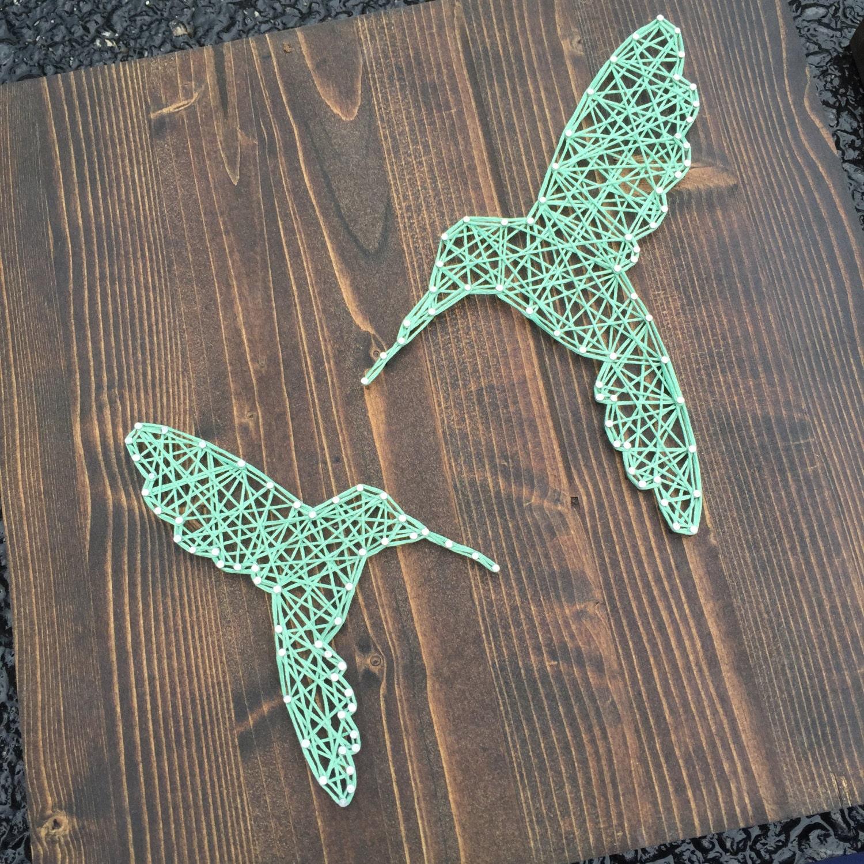 made to order string art hummingbird sign. Black Bedroom Furniture Sets. Home Design Ideas