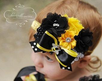 Bumble Bee Headband/Infant Headband/Baby Headband/Toddler Headband/Girl Headband/Birthday Headband/Photo Prop/Newborn Headband