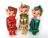 Vintage Pixie Elf Knee Huggers, Red Green Gold Metallic, Pixie Elves Christmas Tree Ornaments, Kitsch Kitschy 60s Christmas Decorations