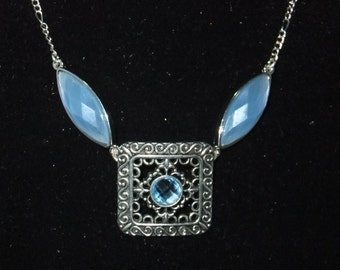 Blue & Silver Jeweled Necklace