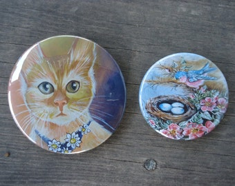 Cat Pin and Bluebird Nest Pin