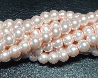 Coconut round glass pearls - 8mm