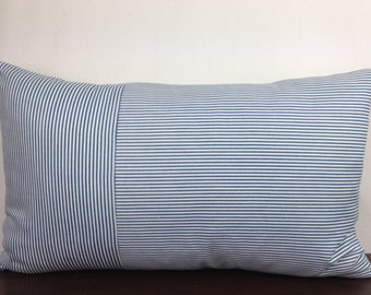 Blue, White Stripe 12x20 Lumbar  Decorative Throw Pillow Cover, Accent Pillow