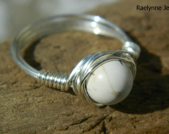 White Magnesite Silver Wrapped Wire Ring