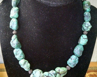 Vintage Native American Southwestern Genuine Turquoise Chunk Choker Necklace - Vintage Jewelry REDUCED