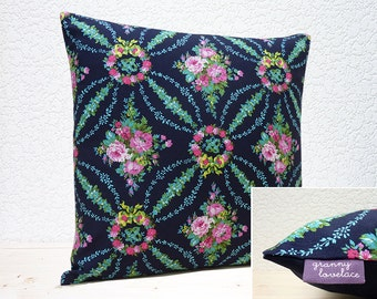 """Handmade 16""""x16"""" Cotton Cushion Pillow Cover Navy/Pink/White/Turquoise/Green Beauty Queen Midnight Floral Design Print"""