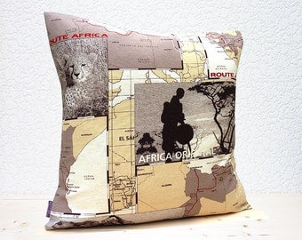 "Handmade 18""x18"" Cotton Cushion Pillow Cover in Cream/Black/Brown/Fawn Route South Africa Animal Safari Map Design Print"