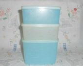 Tupperware 3 Aqua Blue and Sheer Square Rounds with Lids 311, 312
