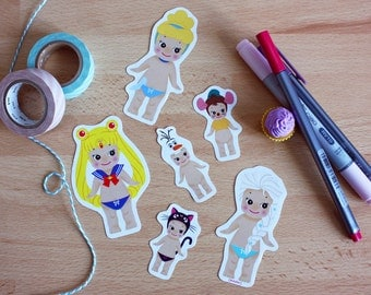 6 Stickers Set Sonny Angel x Disney : Sailor Moon + Cinderella + Frozen