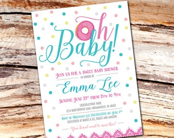 Oh Baby! Donut Baby shower Invitation 5x7 [PRINTABLE]