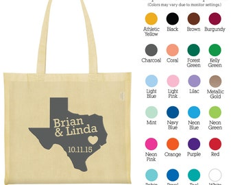 Cotton Bags (C1820) State of Texas - Welcome Wedding Bags - Wedding Favors - Personalized Tote Bags - Custom Canvas Bags