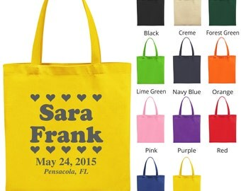 Welcome Tote Bags (C1857) Hearts - Wedding Favors - Personalized Bags - Custom Tote Bags - Wedding Bags
