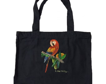 Tote Bag Hand Painted with Toucan Design