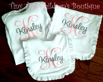 Personalized Baby Girl Gift Set - Monogram Bib - Baby Going Home Outfit - Embroidered Baby Gift Set - Ruffle Gift Set - Monogram Burp Cloth