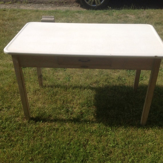 Kitchen Table Drawers: Vintage Porcelain Top Kitchen Table With Drawer