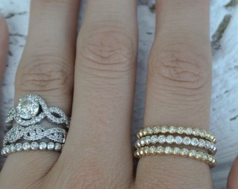 Diamond Sterling Silver Stackable band
