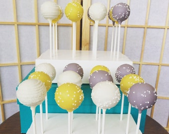 Baby Shower Cake Pops - Yellow and Grey Cake Pops - Bridal Shower Cake Pops