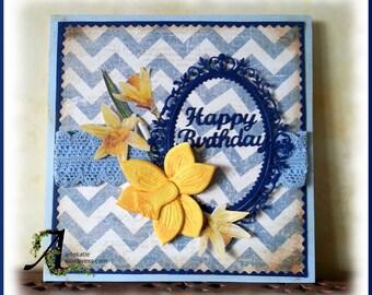 elegant daffodils birthday card