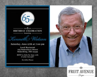 Adult Male Birthday Party Invitation with Photo - Printable