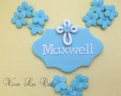 Fondant Baptism/communion Name plaque with fondant flowers